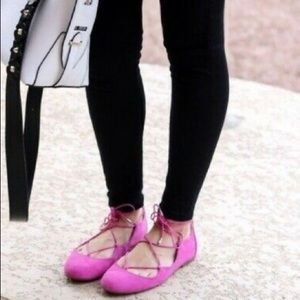 Sam Edelman Pink Flynt Ballet Tie-up Flats SZ 7.5